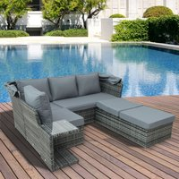 Outsunny 5 PCS Outdoor Garden Rattan Wicker Sofa Sets Adjustable Canopy and Side Table Dining Table Set Sectional Furniture w/ Cushions, Mixed Grey