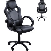 HOMCOM Racing Office Chair PU Leather Executive Desk Chair Gaming Swivel Height Adjustable PC Computer Chair (Black & grey)