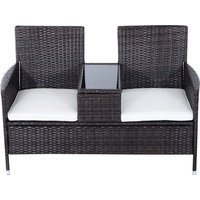Outsunny Rattan Chair Furniture Set W/ Middle Tea Table-Brown