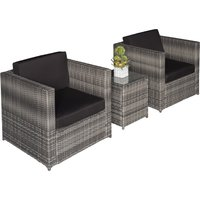 Outsunny 3 Pcs Rattan Sofa Furniture Set W/Cushions, Steel Frame-Grey