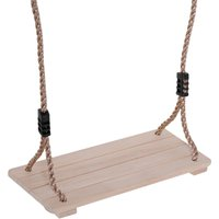 HOMCOM Wooden Garden Swing Seat Outdoor Pine Wood Swing Chair Adults and Kids Adults