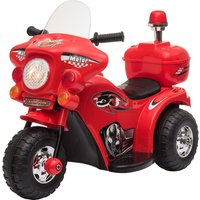 HOMCOM Kids 6V Electric Ride On Motorcycle 3 Wheel Vehicle Lights Music Horn Storage Box Outdoor Toy for 18 - 36 Months Red