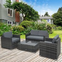 Outsunny 4 Pieces Wicker Steel Rattan Sofa Set Garden Chair Seat Furniture Patio Grey