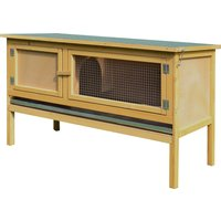 Pawhut Wooden Rabbit Hutch Bunny Cage Outdoor Small Animal House w/Hinged Top Slide out Tray 115 x 44.3 x 65 cm