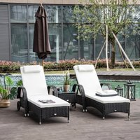 Outsunny Rattan Garden Lounger Outsunny Black Wicker Sun Lounger Chair Rattan Furniture Set of 2pcs