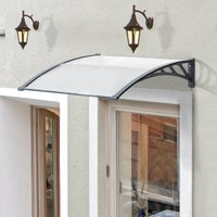 Outsunny Door Canopy Awning Outdoor Window Rain Shelter Cover for Front/Back Door Porch Clear