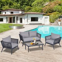 Outsunny 4 PCs PE Rattan Wicker Sofa Set Outdoor Conservatory Furniture Lawn Patio Coffee Table w/ Cushion Deep Grey
