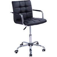 HOMCOM PU Leather Height Adjustable Swivel Office Computer Chair 360 Degree Chair with Chrome Base and Castor Wheels Armrest Bar Chair