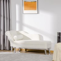 HOMCOM Deluxe Chaise Longue Designer Retro Vintage Style Sofa Lounge Day Bed With Bolster Cushion White