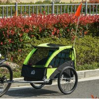HOMCOM Child Bicycle Trailer Foldable 2-Seat Baby Transport Carrier with Storage Bag Five-point Safety Harness Green