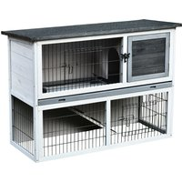 PawHut Small Animal Two-Level Fir Wood Hutch w/ Slide Out Tray Grey