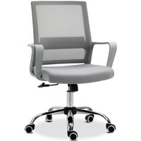 Vinsetto Ergonomic Chair Office Back Support Adjustable Height Mesh Office Chair Breathable Desk Chair w/Armrest 360° Swivel Castor Wheels Grey