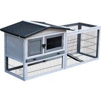PawHut Small Animal Two-Level Fir Wood Hutch w/ Ramp Burnt Grey