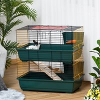 PawHut Small Animal Cage Habitat with Accessories 3 Openable Doors 2-Story Large Pet Play House for Chinchillas Puppy Guinea Pig 80 x 44 x 82 cm