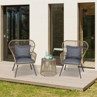 Outsunny 3 Pieces Outdoor Patio Bistro Set, Wicker Rattan Furniture 2 Chairs 1 Coffee Table with Metal Legs for Garden, Backyard, Deck, Coffee