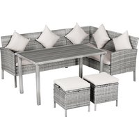 Outsunny 5 Piece Modern Outdoor Patio Rattan Wicker Furniture Patio Dining Table Stool Chaise Lounge Set