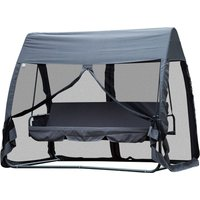 Outsunny Outdoor 3 Persons Swing Chair Lounger Bed Rocking Bench W/Cover Tent Water Resistant Roof Zipped Door Mesh Side Panel
