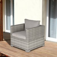 Outsunny Outdoor Patio Furniture Single Rattan Sofa Chair Padded Cushion All Weather for Garden Poolside Balcony Grey