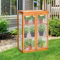 Outsunny 3-tier Wooden Cold Frame Polycarbonate Grow House Garden Greenhouse Outdoor Flower Vegetable Planting Storage Shelves 76L x 47W x 110H cm