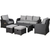Outsunny 7-Seater Outdoor Garden Rattan Furniture Set w/ Recliners Grey