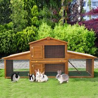 PawHut Small Animal Deluxe XXL Fir Wood 2-Tier Hutch Natural Wood Tone