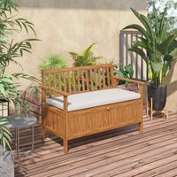 Outsunny Wood Garden Bench 2 Seater Storage Chest Patio Seating with Padded Seat Cushion