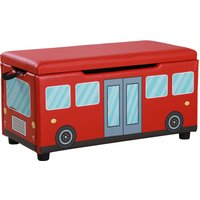 HOMCOM Kids Bench Storage Chest Storage Box 75 x 36 x 39 cm, Red Bus Pattern PVC, Safe and Comfortable Foldable Red