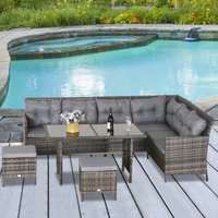 Outsunny 6 PC Garden Rattan Corner Dining Sofa Set 7-seater Outdoor Wicker Conservatory Furniture Lawn Patio Coffee Table Foot Stool w/ Cushion - Grey