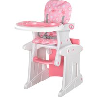 HOMCOM HDPE 3-in-1 Baby Booster High Chair Pink