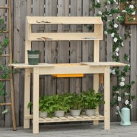 Outsunny Garden Potting Bench w/ Sliding Tabletop, Wooden Workstation w/ Dry Sink, Outdoor Workbench Potting Table w/ Storage Shelf and Hooks, Natural