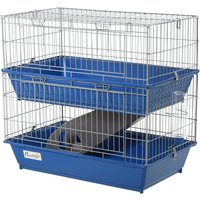 PawHut Metal 2-Tier Small Guinea Pigs Hutches Blue