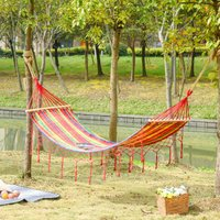 Outsunny 290 x 100cm Cotton Hammock Hanging Hammock Bed Outdoor and Indoor with Wood Stricker and Fringed Macrame, 150kg, Rainbow Stripe