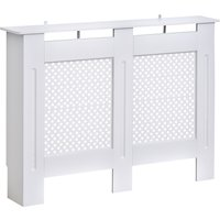 Wooden Radiator Cover Heating Cabinet Modern Home Furniture Grill Style Diamond Design White Painted (Medium)