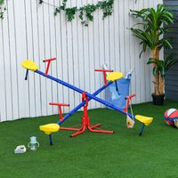 Outsunny Kids Metal Seesaw Teeter Totter Childrens Playground Equipment for Garden Outdoor Indoor Swing, 4 Seats