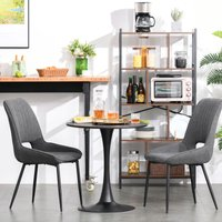 HOMCOM Modern Round Dining Table Leisure Coffee Bistro Table with Metal Base for Kitchen and Dining Room, Faux Black Marble
