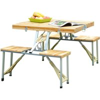 Outsunny Portable Folding Camping Picnic Table Party Field Kitchen Outdoor Garden BBQ Chairs Stools Set Wooden Wood