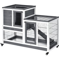PawHut Wooden Indoor Guinea Pigs Hutches Elevated Cage Habitat with Enclosed Run with Wheels, Ideal for Rabbits and Guinea Pigs, Grey and White