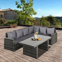 Outsunny 3 PCS Outdoor Patio Dining Table Sets All Weather PE Rattan Sofa Furniture Set w/ Cushions and Tempered Glass Table Top Grey