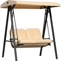 Outsunny 2-Seater Swing Chair Hammock Cushioned Bench Seat-Beige/Black