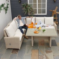 Outsunny 5 Pieces Outdoor PE Rattan Patio Furniture Set L-Shape Lounge Sofa Tempered Glass Coffee Table Conversation Set with Olefin Cushion