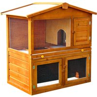 PawHut Wooden Rabbit Hutch House, Size (93.5x55x98 cm)