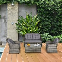 Outsunny 4 PCs PE Rattan Wicker Sofa Set Outdoor Conservatory Furniture Lawn Patio Coffee Table w/ Cushion - Grey