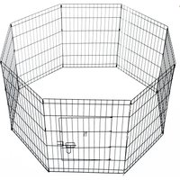 PawHut Pet Cage 8 Panel Metal Small Fence 24-inch