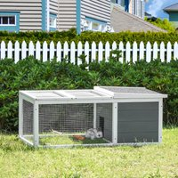 PawHut Indoor Outdoor Wooden Rabbit Hutch Small Animal Cage Pet Run Cover, with UV-resistant Asphalt roof and Water-repellent Paint
