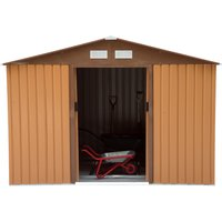 Outsunny Lockable Garden Shed Large Patio Tool Metal Storage Building Foundation Sheds Box Outdoor Furniture (9ft x 6ft, Khaki)