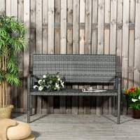 Outsunny Patio Rattan 2 Seater Garden Bench Wicker Weave Love Seater Armchair Furniture Outdoor Garden Conservatory Chair Grey
