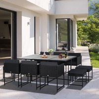 Outsunny 11 Piece Cube Set Outdoor Patio Furniture PE Rattan Wicker Dining Set, Grey Cushion
