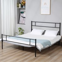 HOMCOM Double Metal Bed Frame Solid Bedstead Base with Headboard and Footboard, Metal Slat Support and Underbed Storage Space, Bedroom Furniture