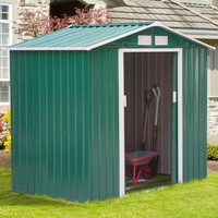 Outsunny Patio Metal 6x6 ft Garden Shed Roofed Tool Storage Container-Green