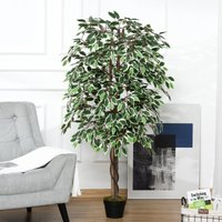 Outsunny Artificial Ficus Silk Tree with Nursery Pot, Decorative Fake Plant, for Indoor Outdoor Décor, 160cm